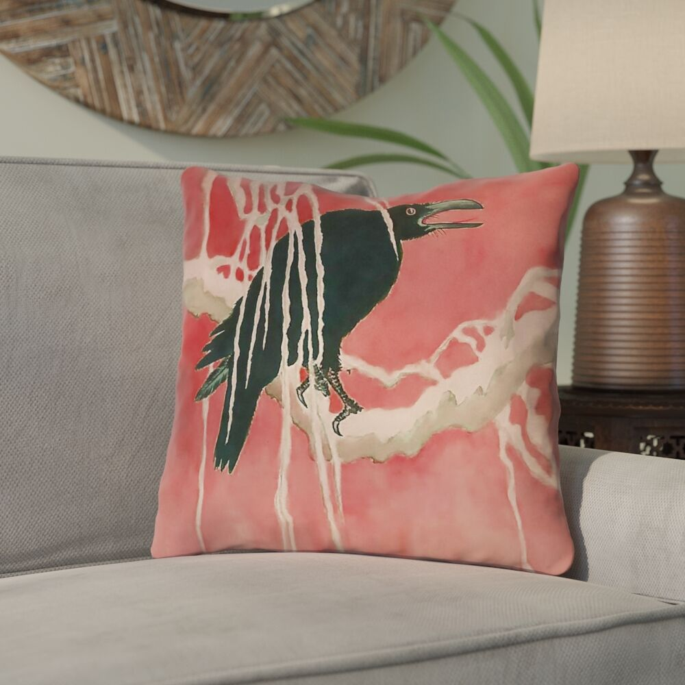 Montreal Crow and Willow Square Indoor Throw Pillow Size: 16