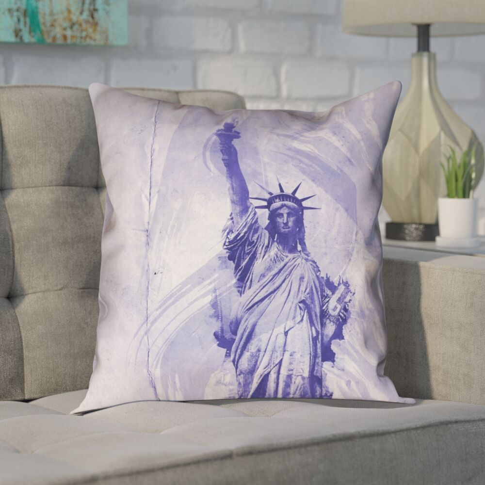 Houck Modern Watercolor Statue of Liberty Pillow Cover Size: 26