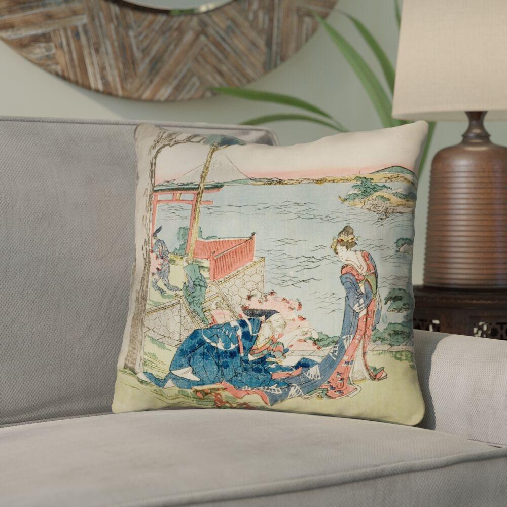 Enya Japanese Courtesan Square Throw Pillow Size: 14