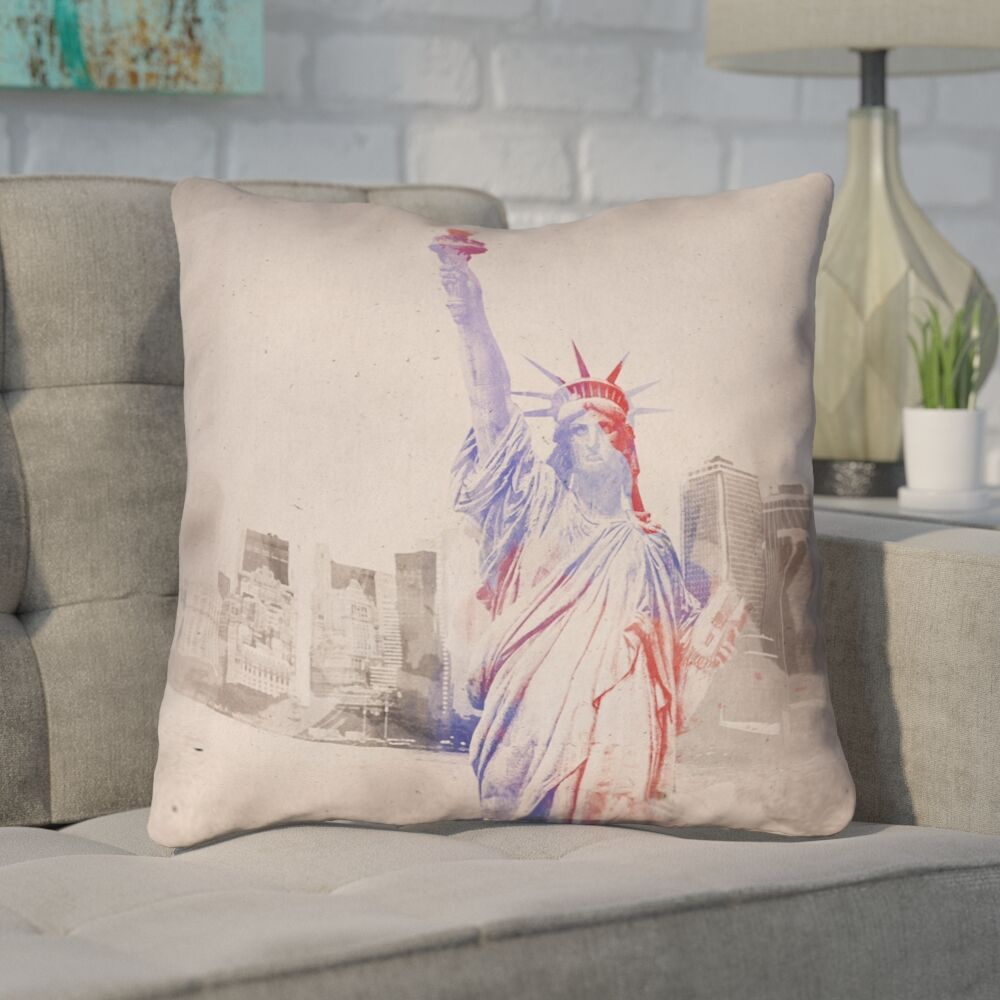 Houck Watercolor Statue of Liberty Square Throw Pillow Size: 14