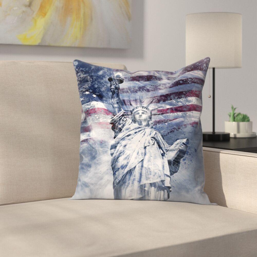 Modern Art Statue of Liberty Throw Pillow Size: 14
