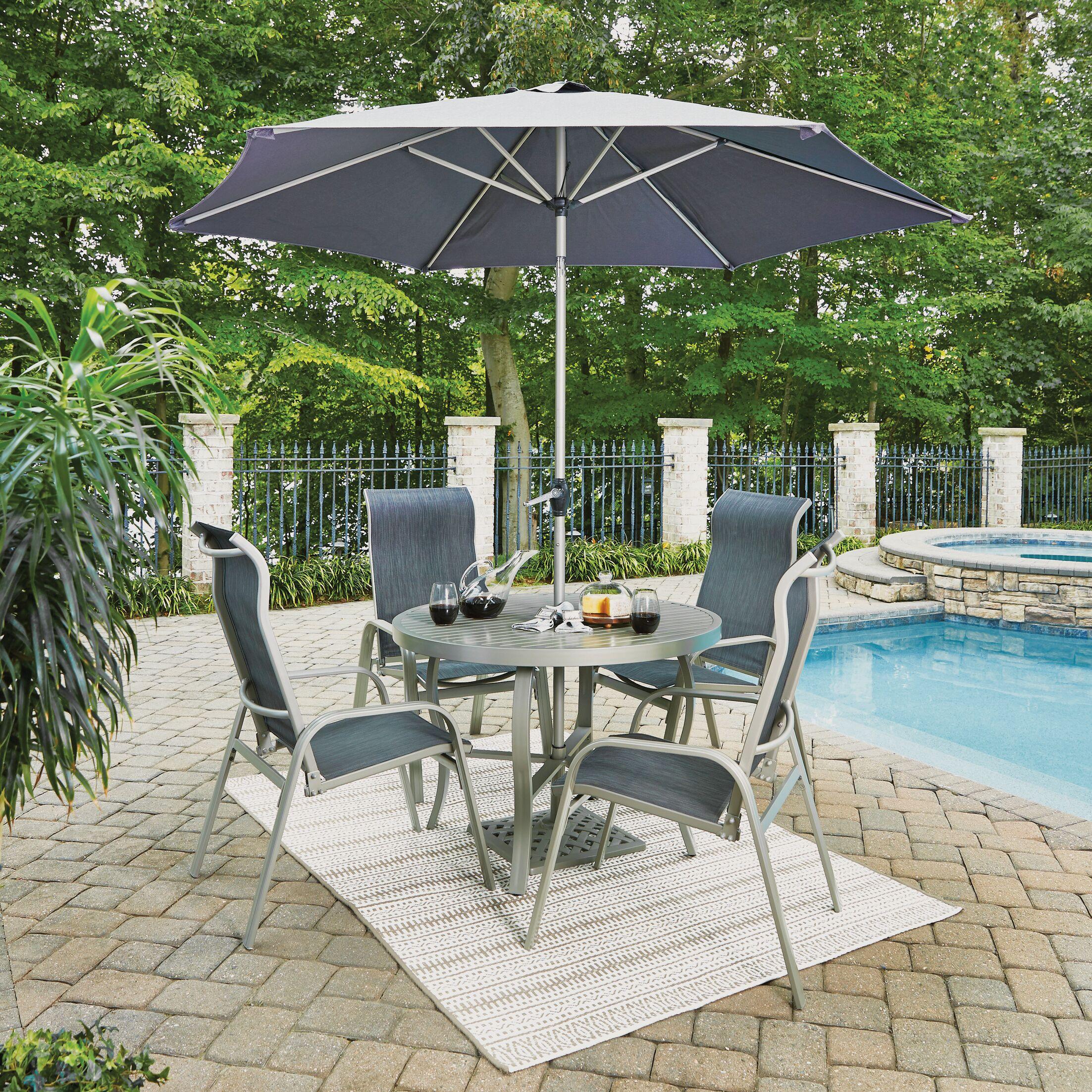 Dinan Outdoor 5 Piece Dining Set with Umbrella Table Size: 28.75