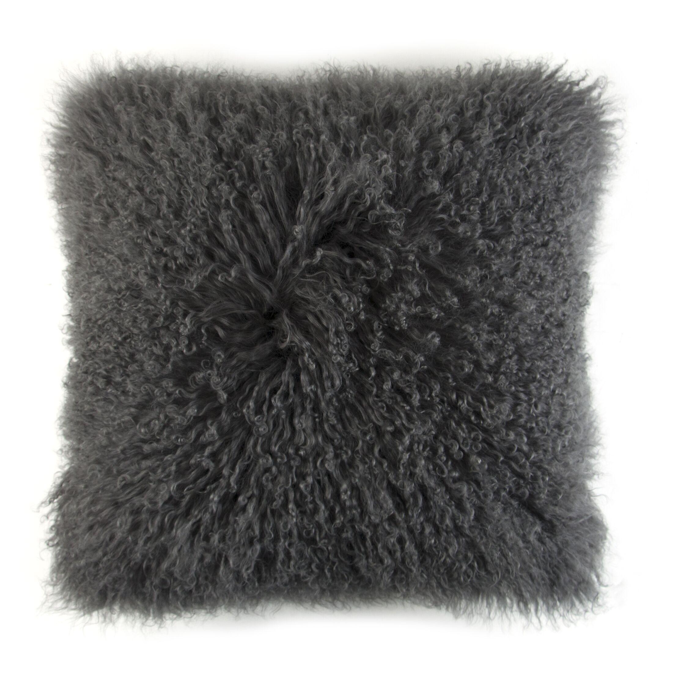 Ewalt Decorative Lamb's Wool Throw Pillow Color: Charcoal