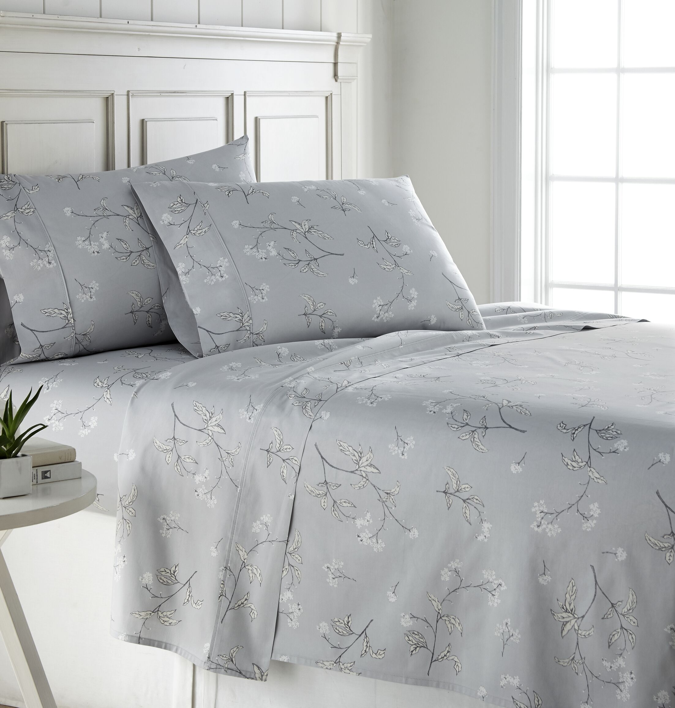 Tabor Extra Deep Pocket 300 Thread Count 100% Cotton Sheet Set Size: California King, Color: Gray