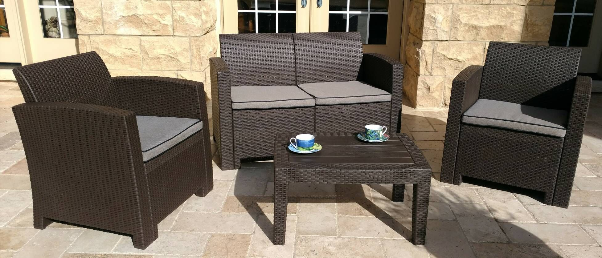 Pelletier 4 Piece Sofa Set with Cushions Frame Color: Brown