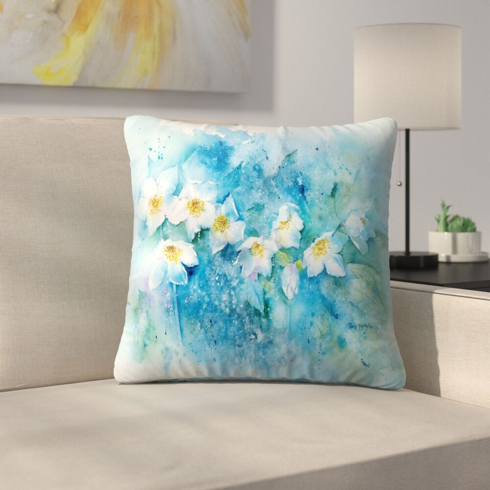 Hellebores on Blue Throw Pillow Size: 16