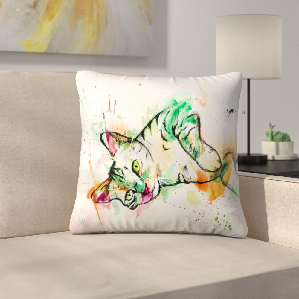 Tabby Cat Throw Pillow Size: 16
