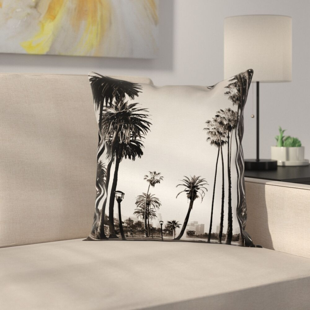 Palm Tree Los Angles Park View Square Pillow Cover Size: 20