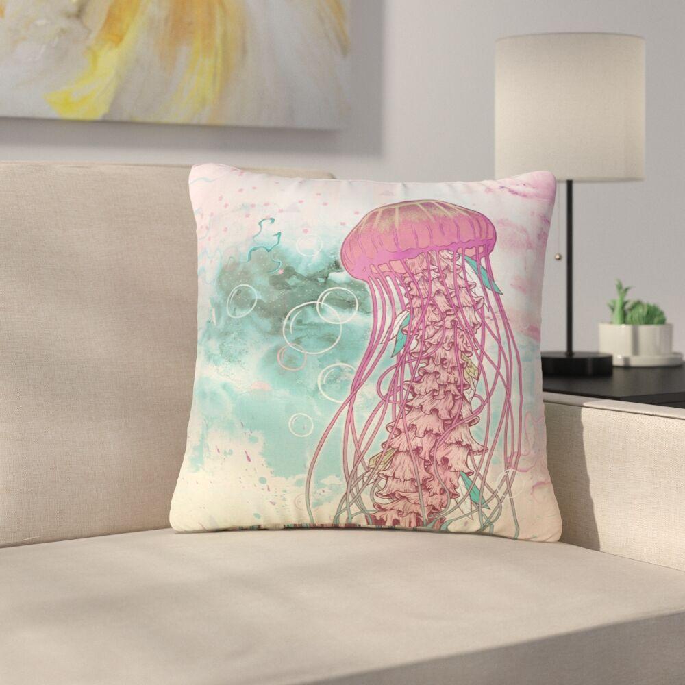 Mat Miller Jellyfish Illustration Outdoor Throw Pillow Size: 18
