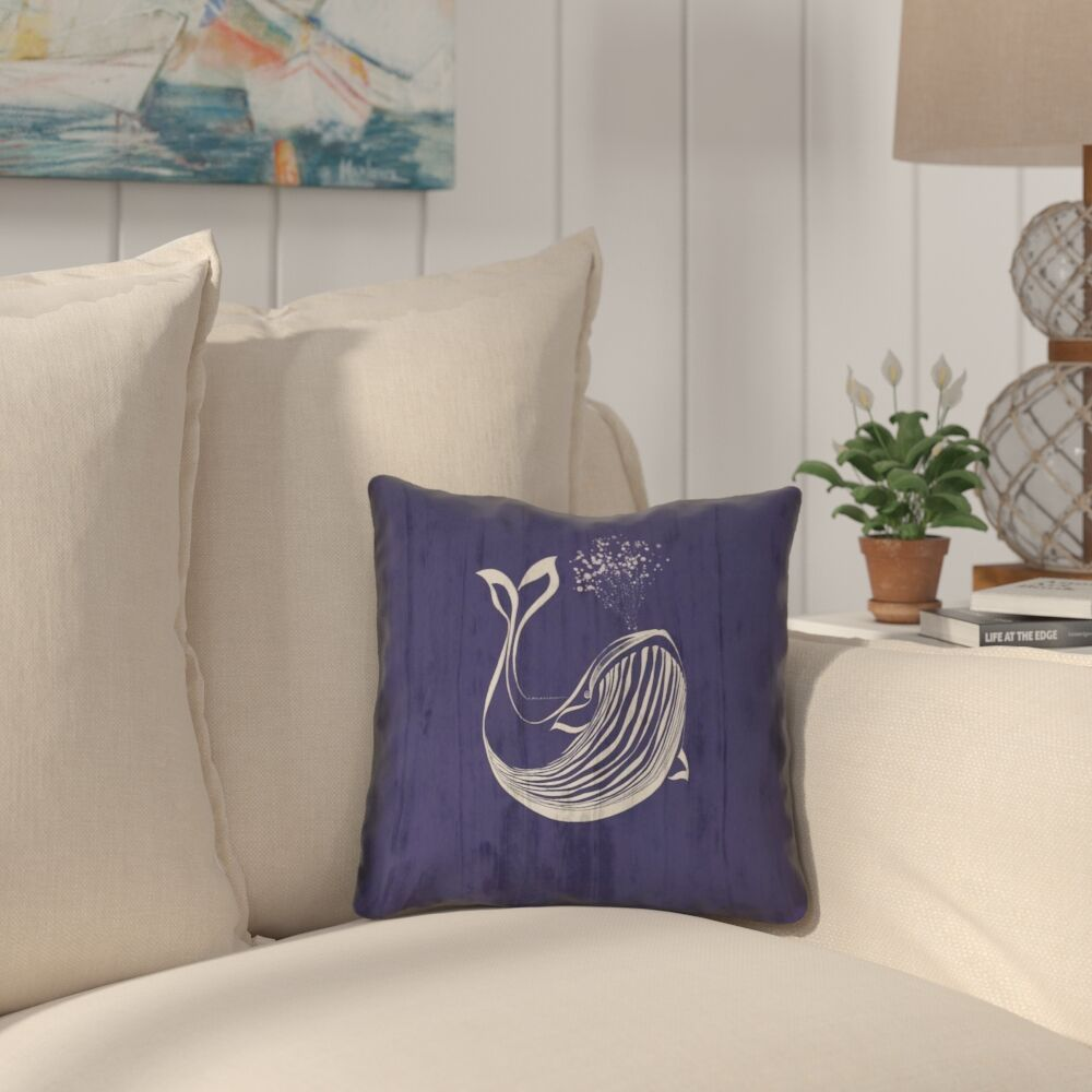 Lauryn Whale Square Pillow Cover Size: 16