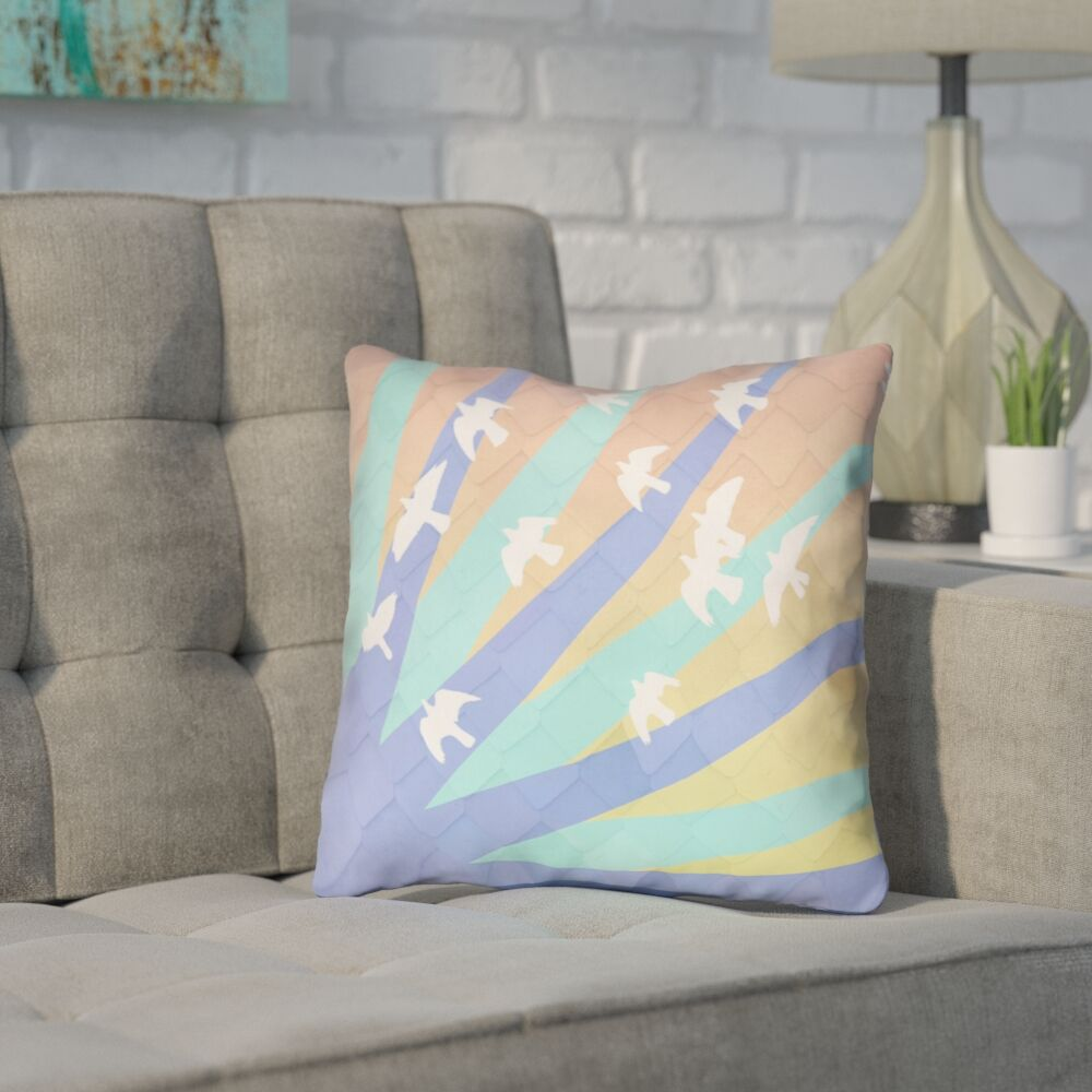 Enciso Birds and Sun Double Sided Print Throw Pillow Size: 26