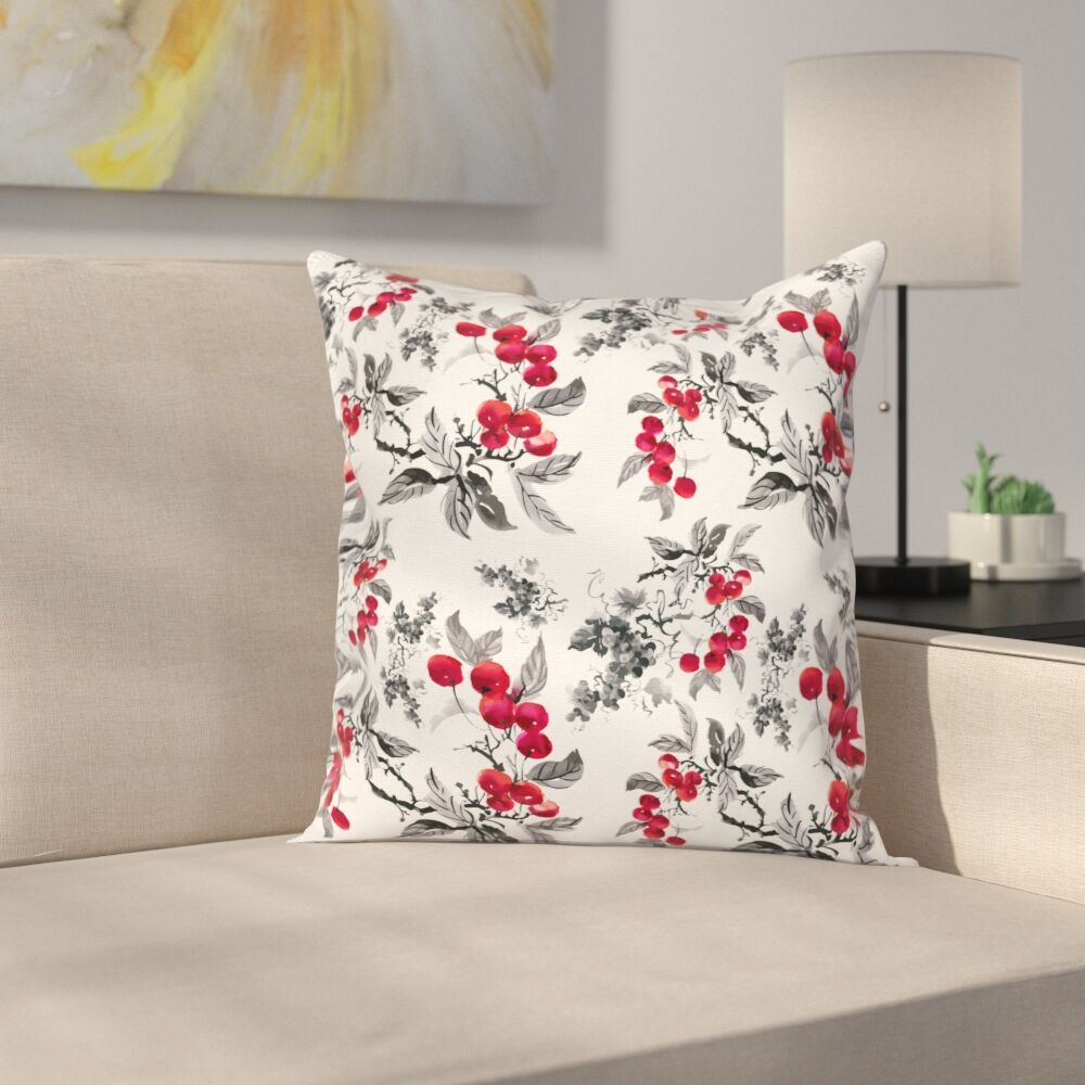 Abstract Botany Garden Square Pillow Cover Size: 18