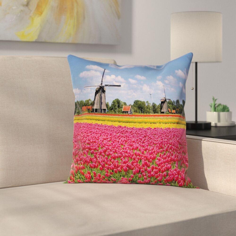 Windmill Decor European Tulips Square Pillow Cover Size: 24