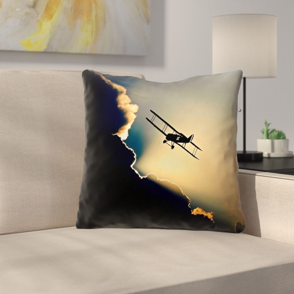 Plane in the Clouds Indoor/Outdoor Throw Pillow Size: 18