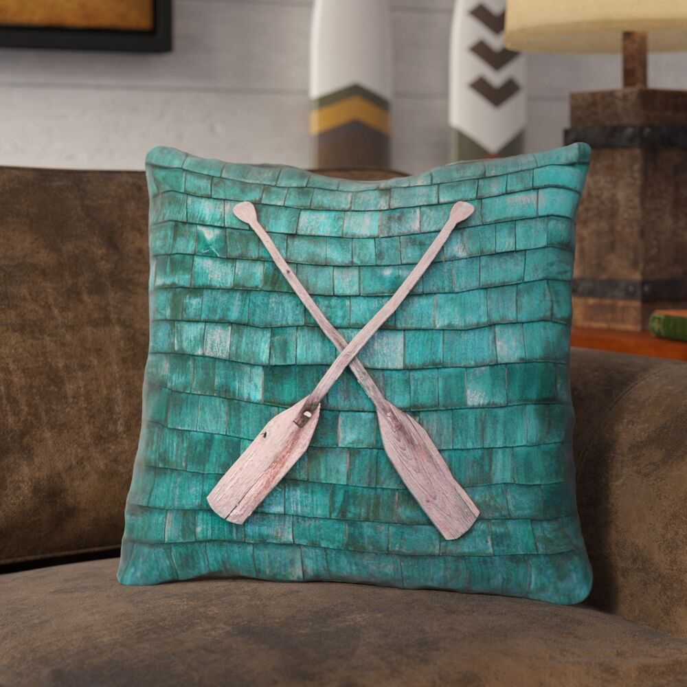 Brushton Rustic Oars 100% Cotton Throw Pillow Size: 14