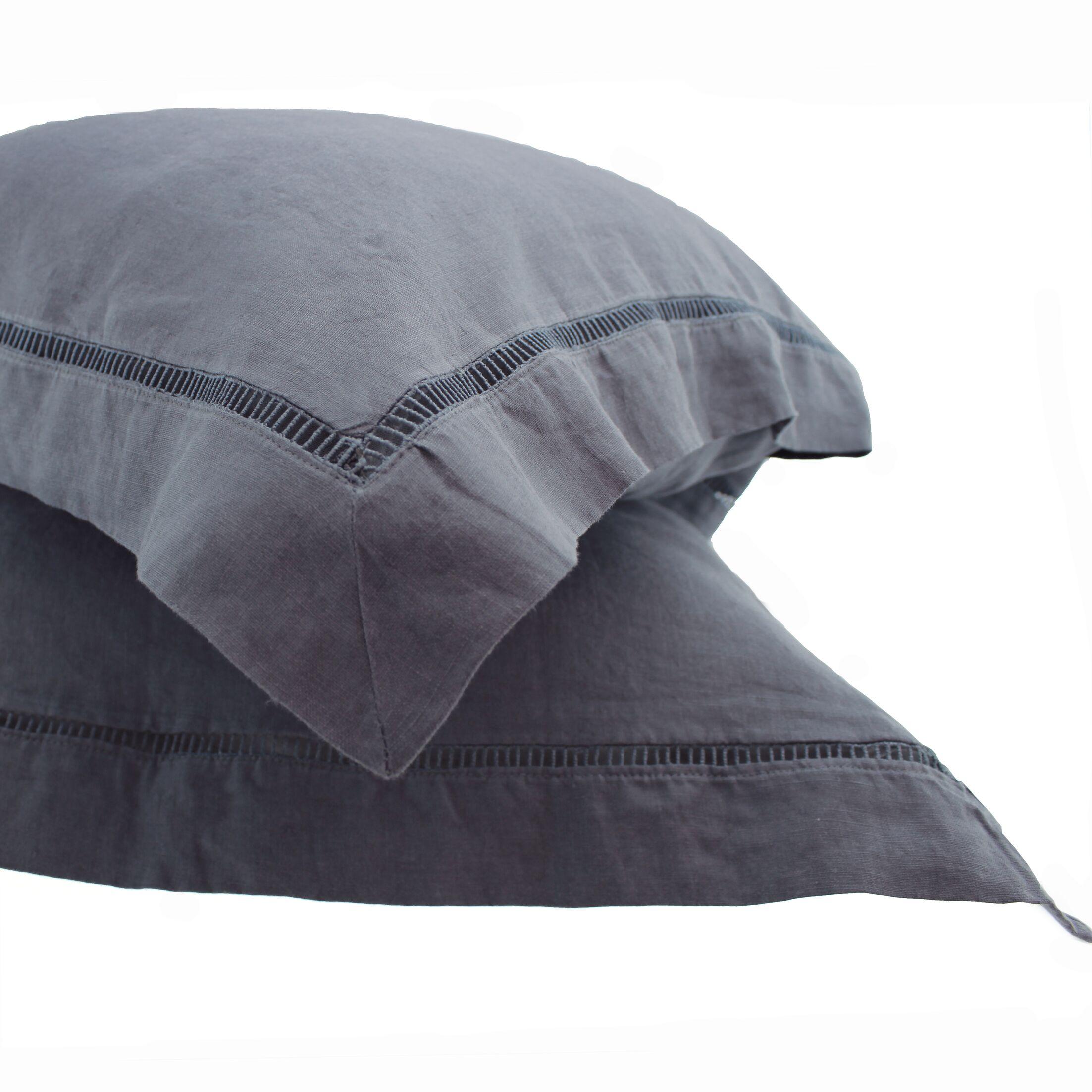 Veney Ladder Hem Linen Cotton Sham Color: Dark Gray