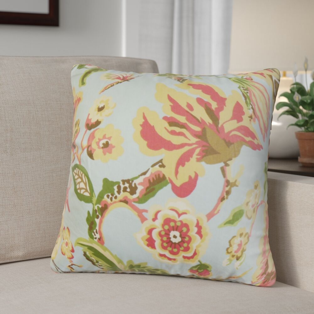 Pearse Floral Throw Pillow Color: Light Blue, Size: 20