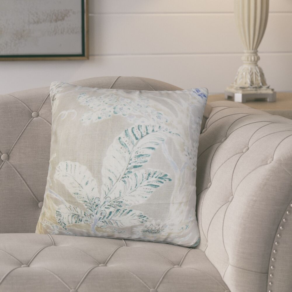 Ilana Floral Throw Pillow Cover Color: Royal Blue