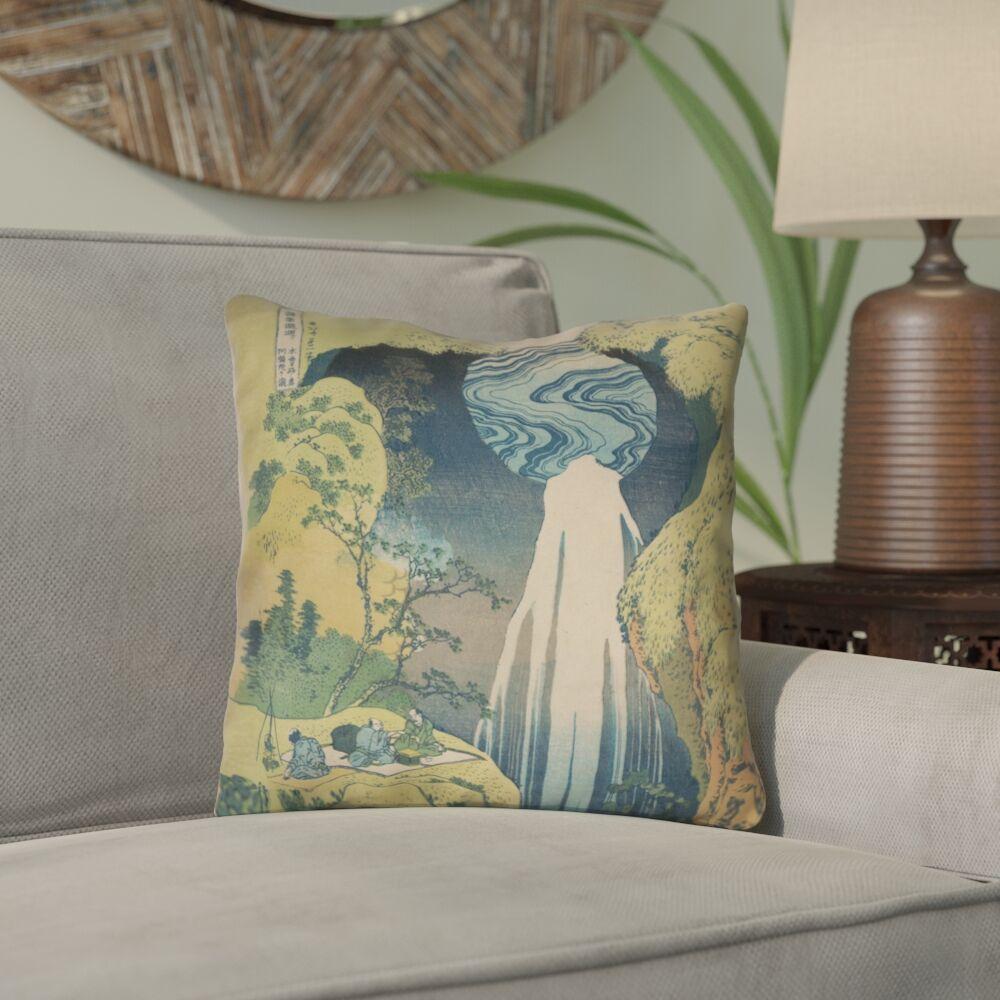 Rinan Japanese Waterfall Outdoor/Indoor Throw Pillow Size: 20