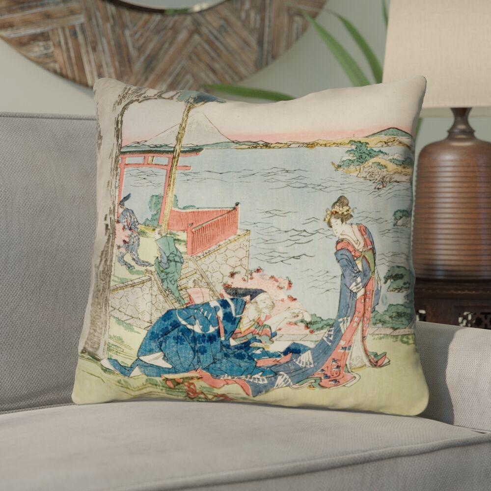 Enya Japanese Courtesan Linen Throw Pillow Size: 14