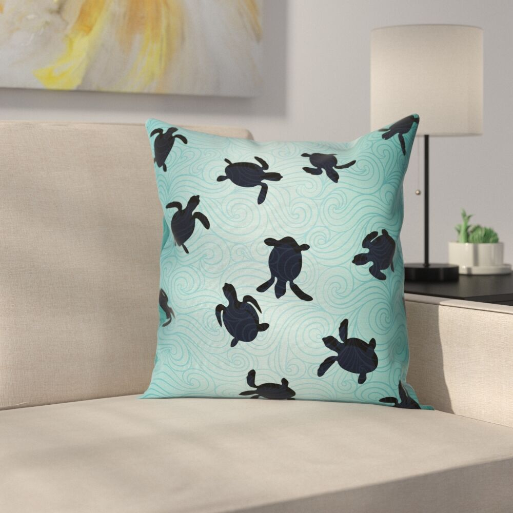 Baby Turtles Deep Sealife Cushion Pillow Cover Size: 18