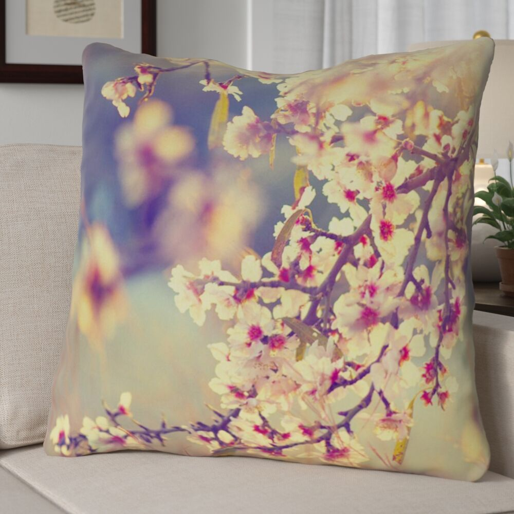 Ghost Train Cottage Cherry Blossoms Throw Pillow Size: 28