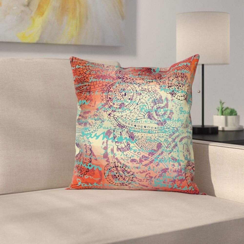 Grunge Indian Paisley Square Pillow Cover Size: 18