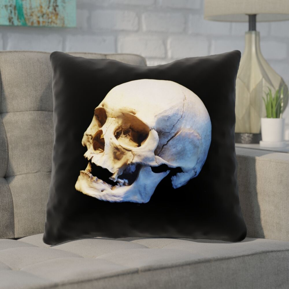 Mensa Skull Square Throw Pillow with Zipper Size: 26