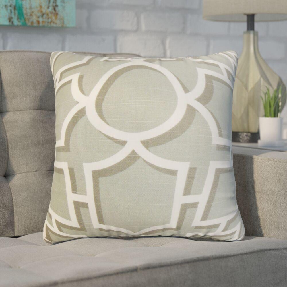 Zaira Geometric Cotton Throw Pillow Color: Gray