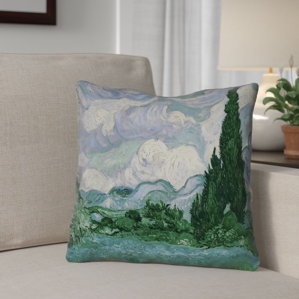 Meredosia Wheat Field with Cypresses Outdoor Throw Pillow Size: 16