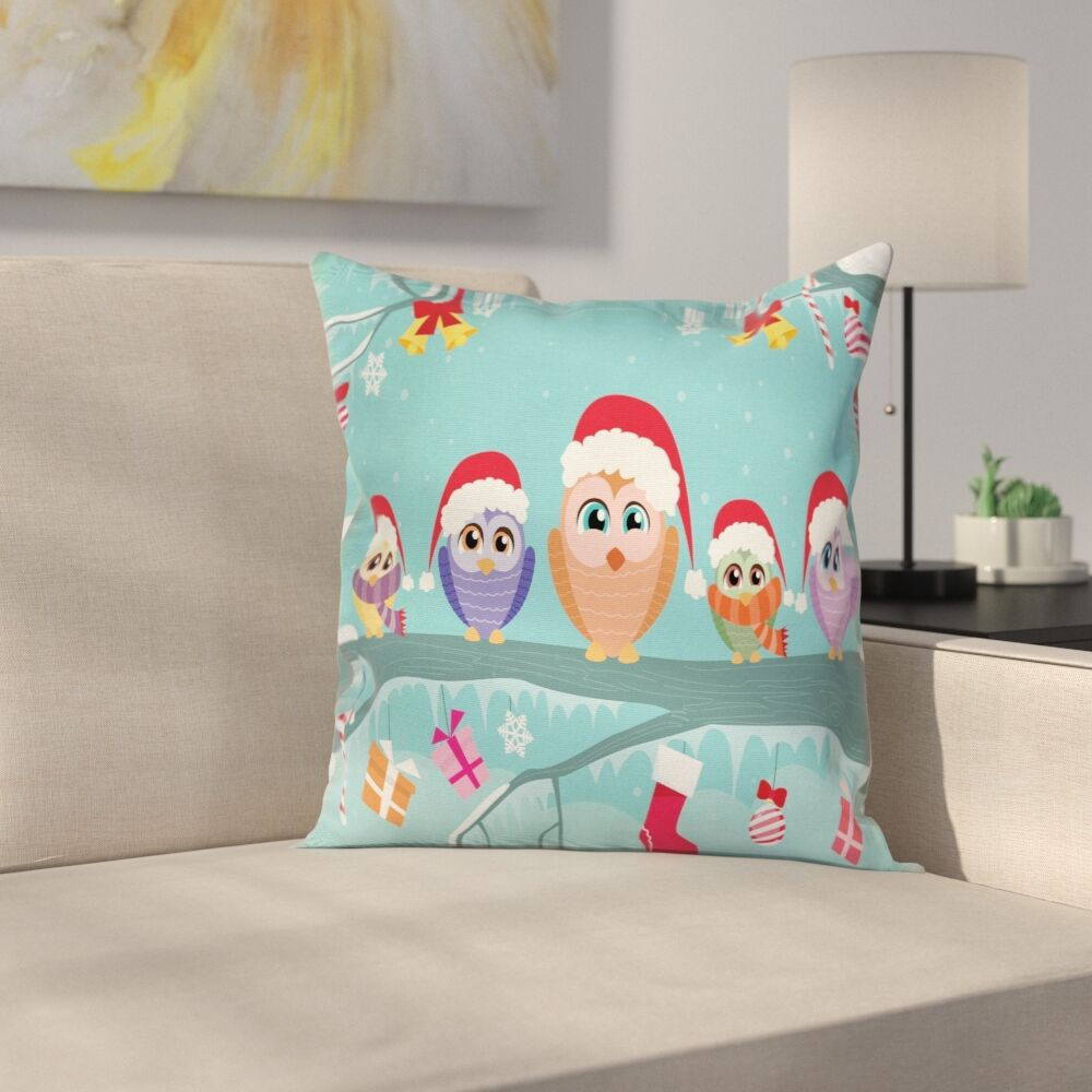 Christmas Cute Owl Family Tree Square Pillow Cover Size: 18
