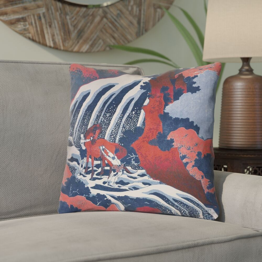 Channelle Horse and Waterfall Square Throw Pillow Size: 20
