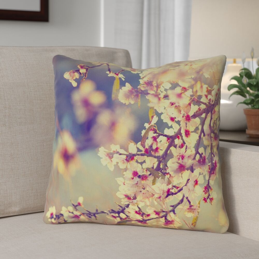 Ghost Train Cherry Blossoms Throw Pillow Size: 14