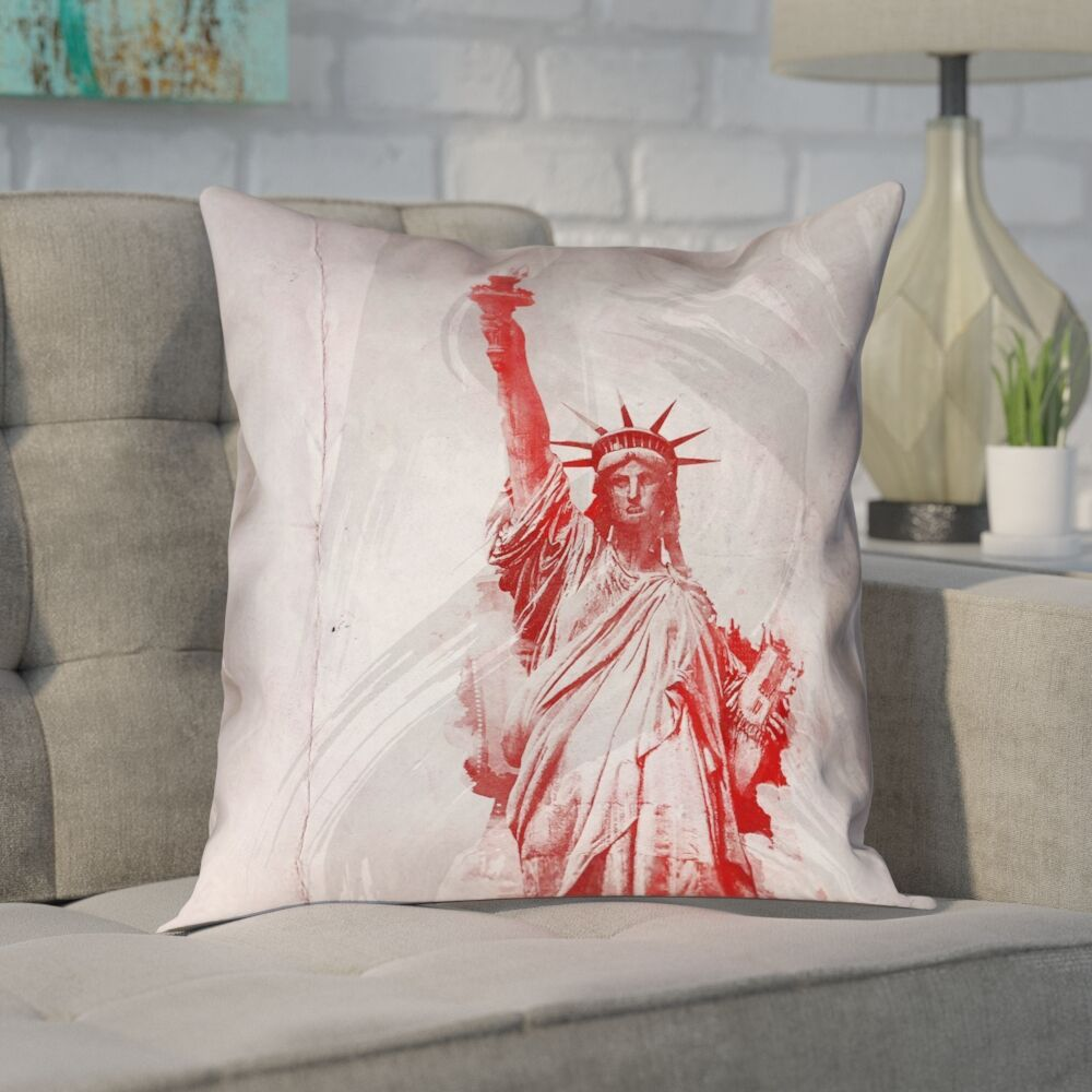 Houck Watercolor Statue of Liberty Printed Zipper Pillow Cover Size: 18