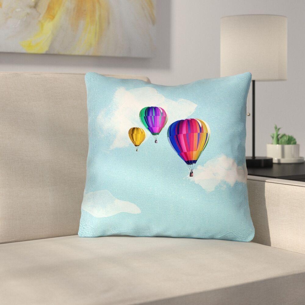 Hot Air Balloons Outdoor Throw Pillow Size: 16