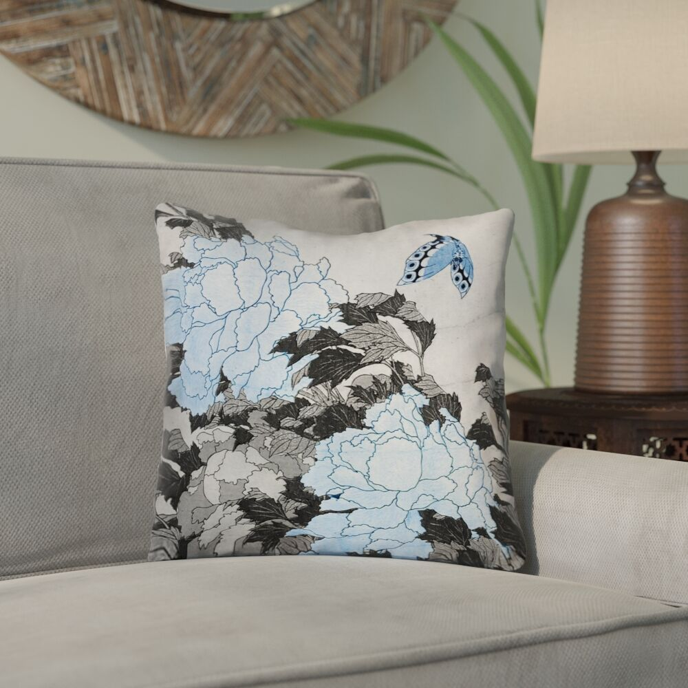 Clair Peonies and Butterfly Square Suede Throw Pillow Size: 14