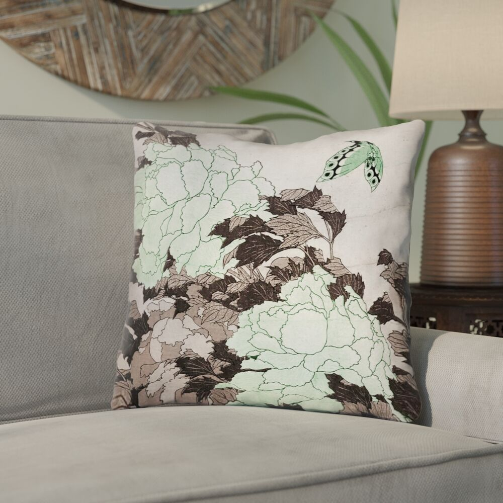 Clair Peonies with Butterfly Cotton Throw Pillow Size: 18