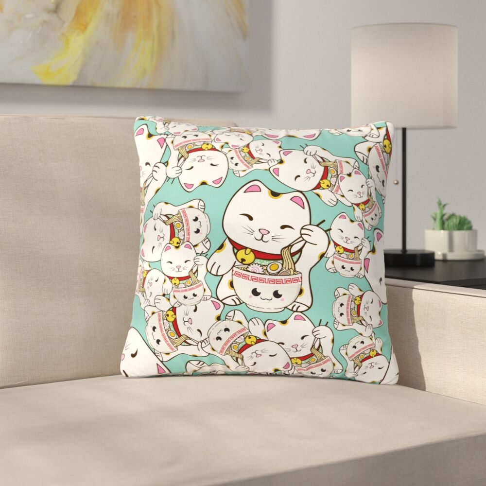 Juan Paolo Ramen Cats Outdoor Throw Pillow Size: 18