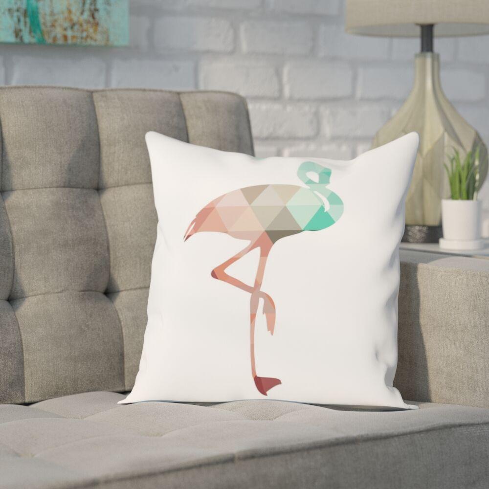 Melinda Wood Flamingo Throw Pillow Color: Mint Coral, Size: 18