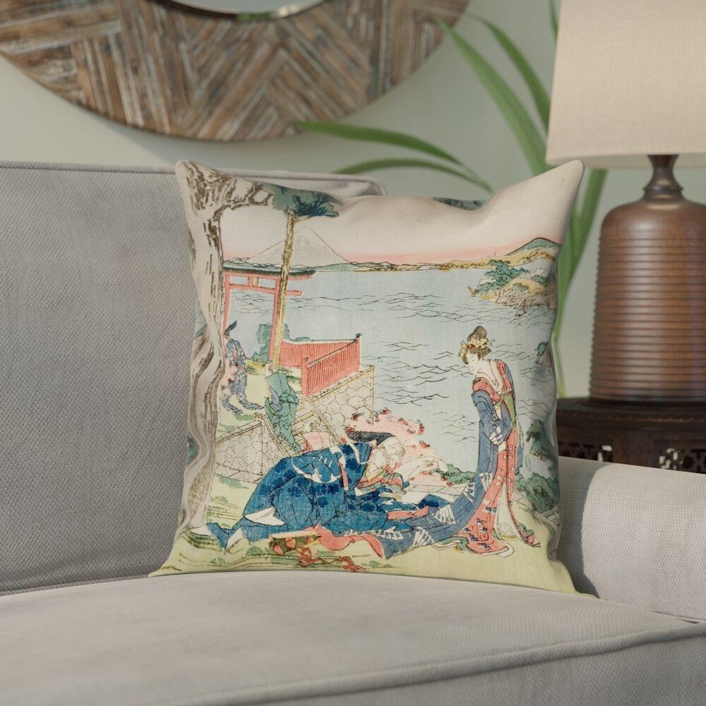 Enya Japanese Courtesan Square Pillow Cover Size: 26