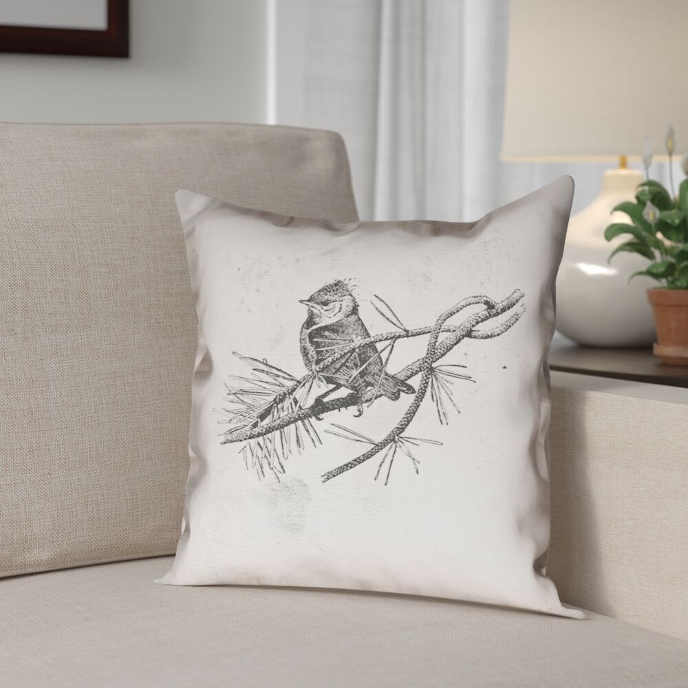 Venezia Vintage Bird Outdoor Throw Pillow Size: 16
