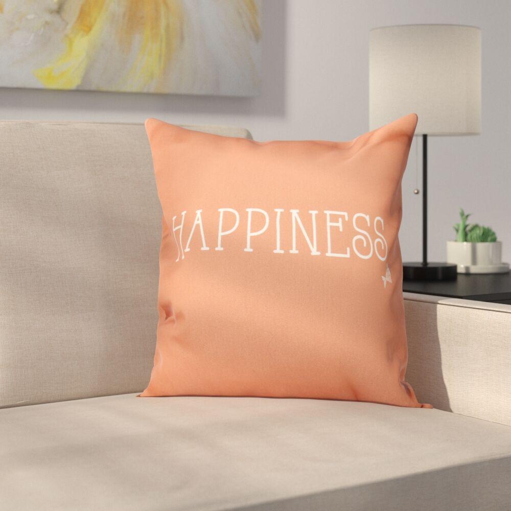 Mae Coastal Happiness Throw Pillow Size: 18