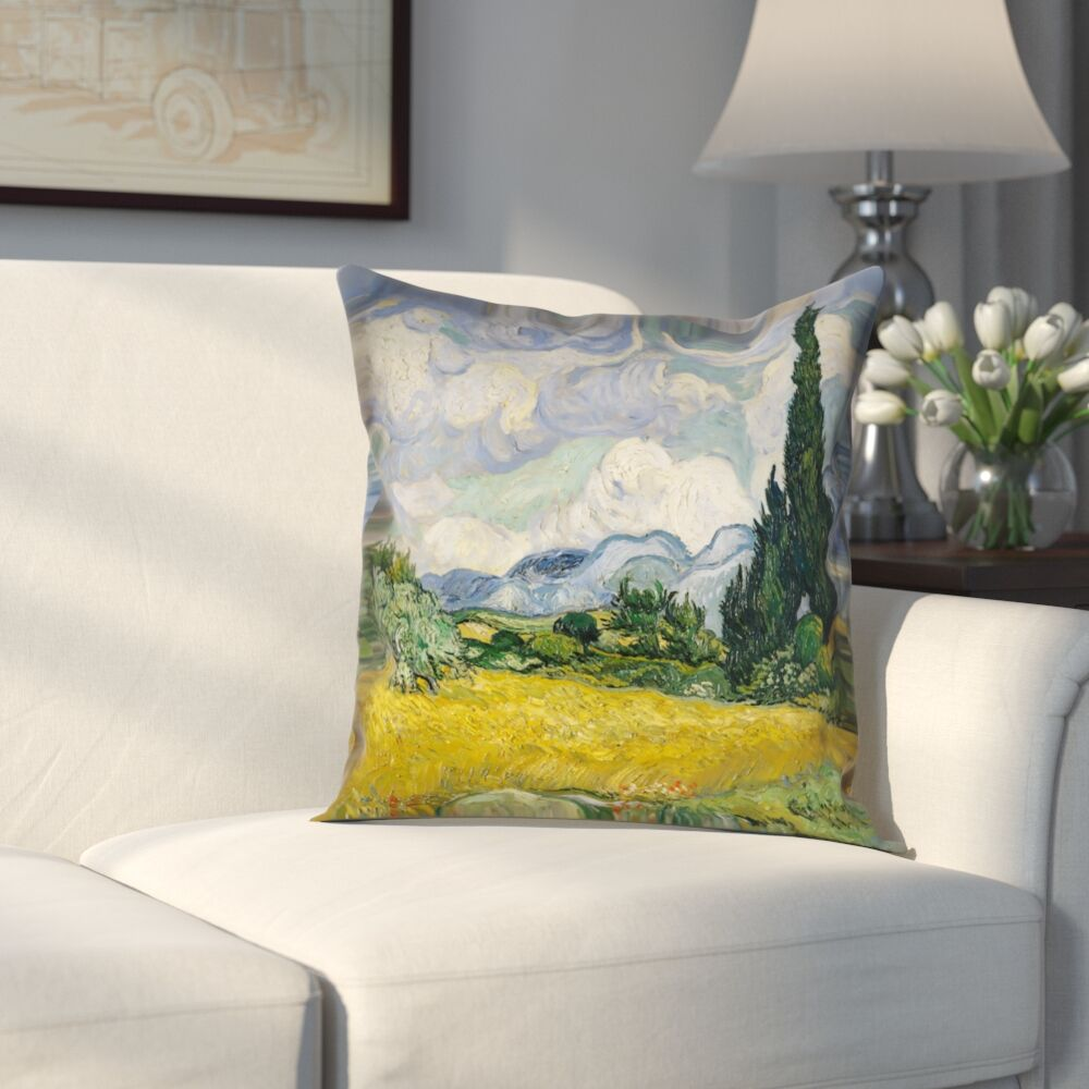 Woodlawn Wheatfield with Cypresses Cotton Pillow Cover Size: 16