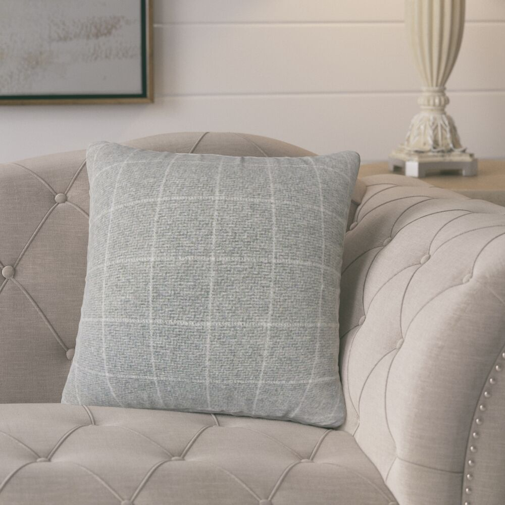 Harshil Plaid Down Filled Throw Pillow Size: 22