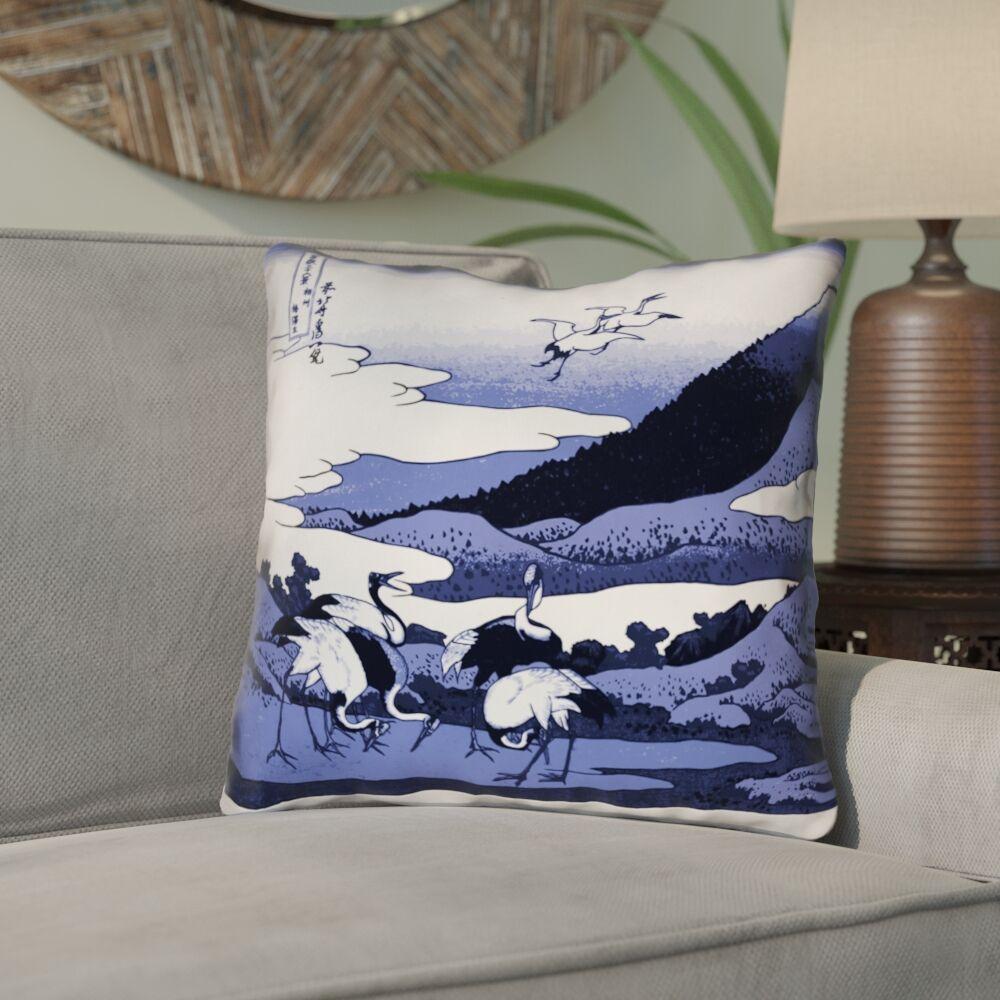 Montreal Japanese Cranes Linen Throw Pillow Size: 20