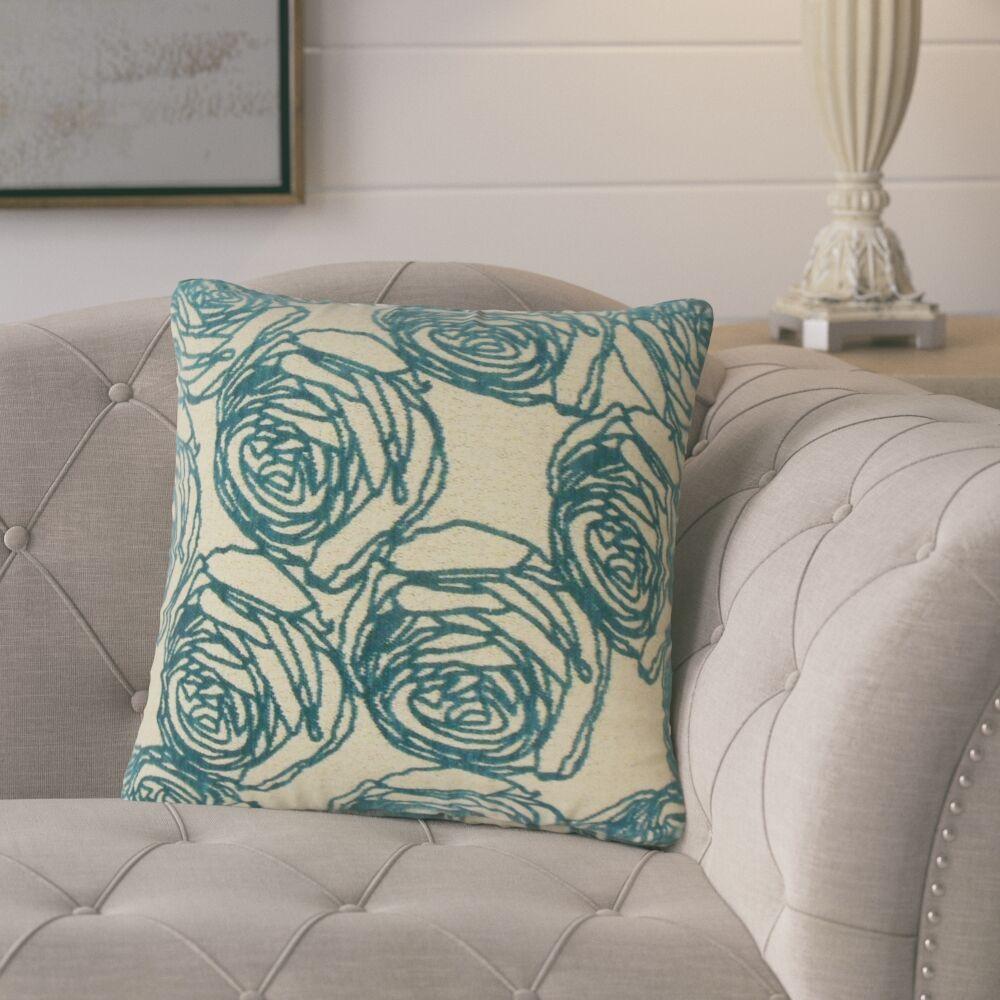 Beglin Floral Throw Pillow Color: Teal