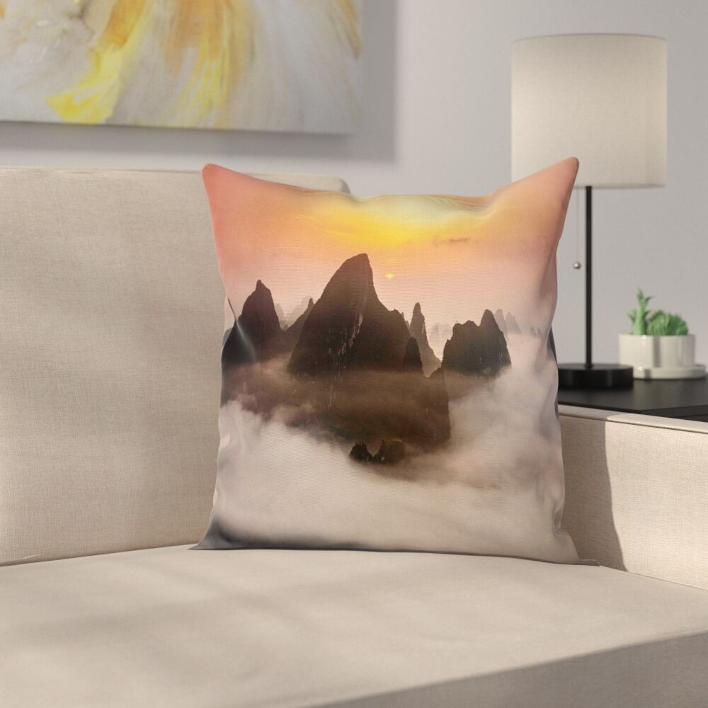 Nature Mist Clouds Mountain Square Pillow Cover Size: 24
