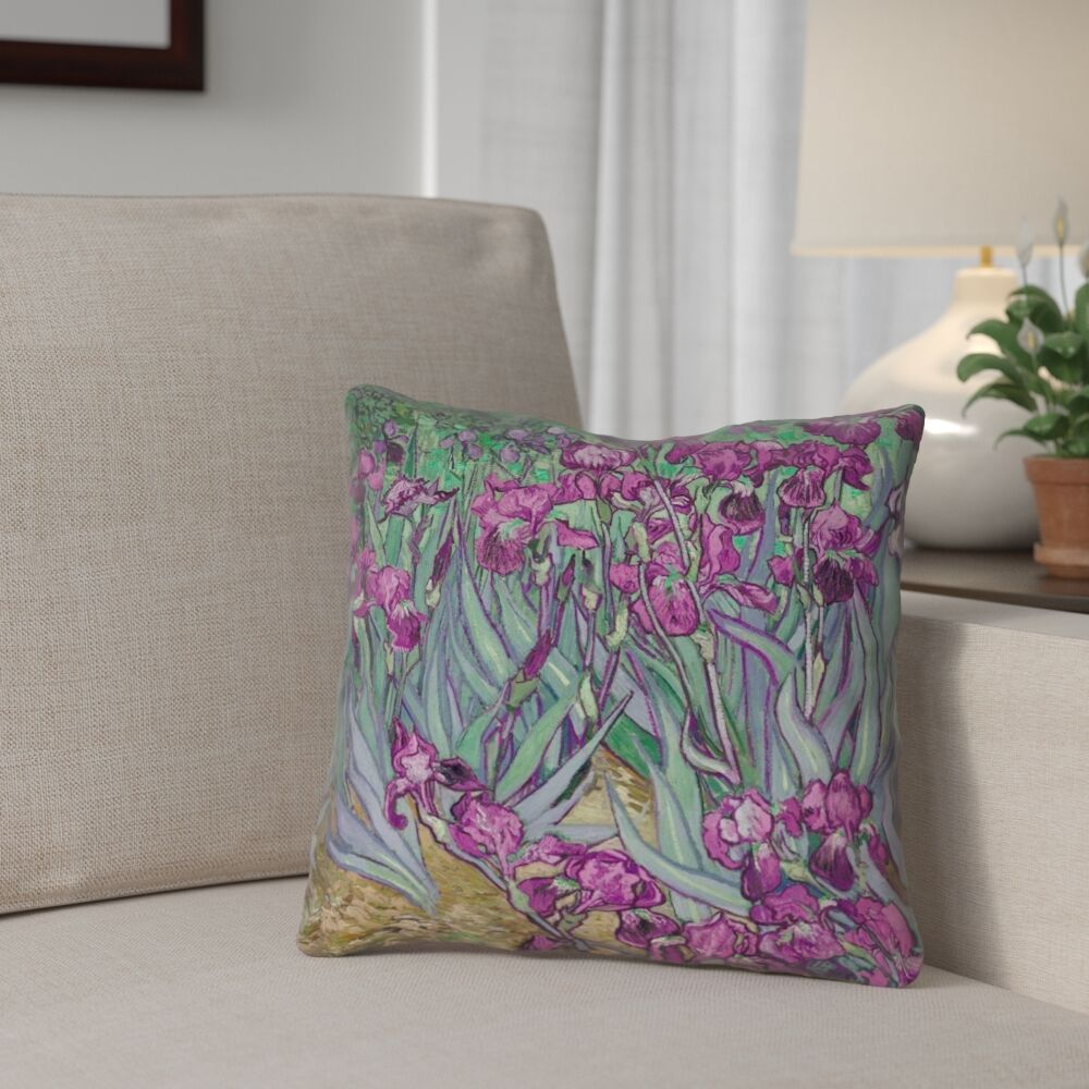 Morley Irises Square 100% Cotton Pillow Cover Size: 20