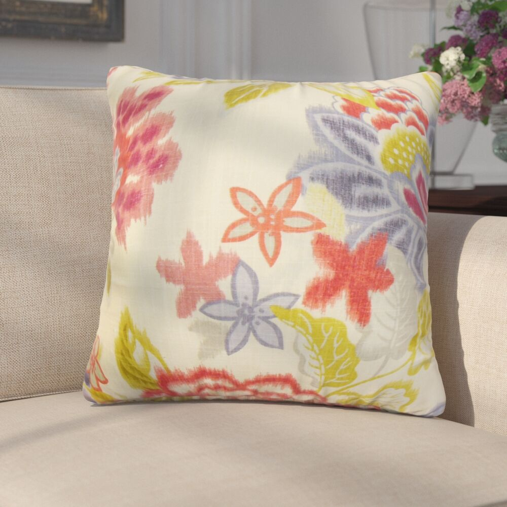 Addingrove Floral Cotton Throw Pillow