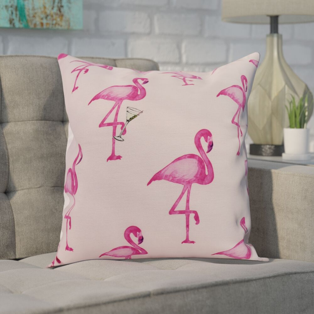 Crosswhite Flamingo Fanfare Martini Animal Print Indoor/Outdoor Throw Pillow Color: Pink, Size: 20